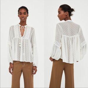 Zara White Sheer Long Sleeve Blouse